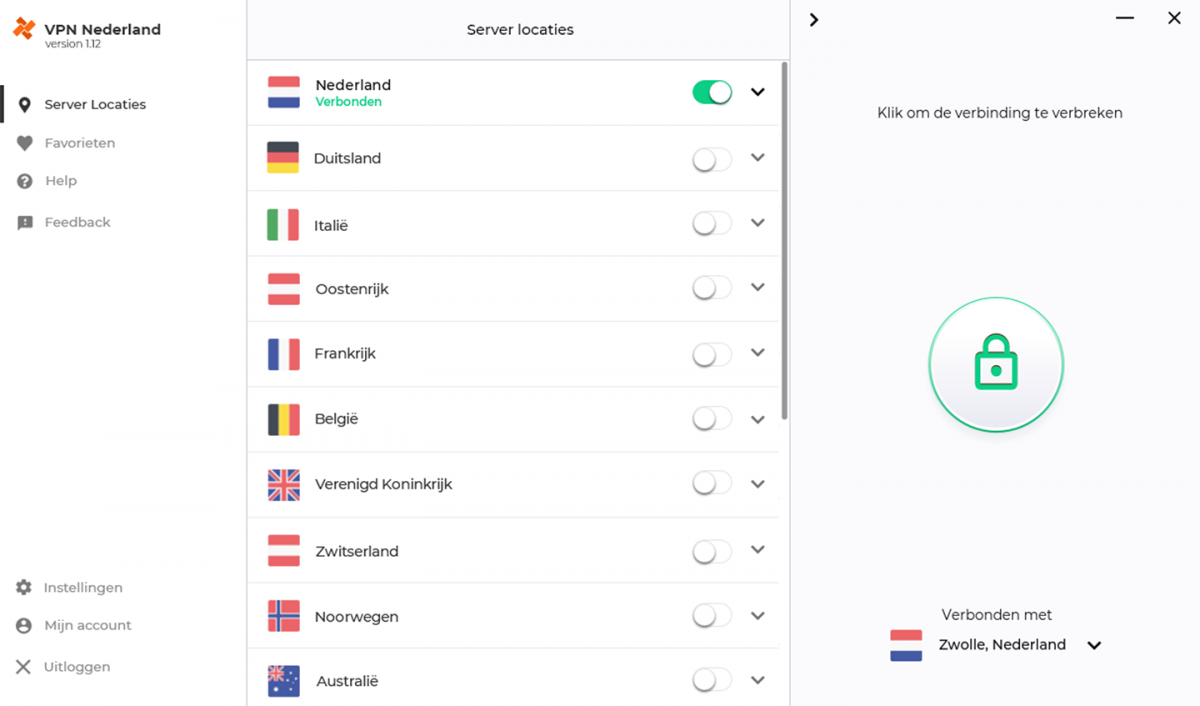 VPN Nederland App Screenshot
